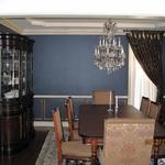 After picture of painted dining room. We also consulted on paint colors, furniture design, lighting, custom rug and drapery